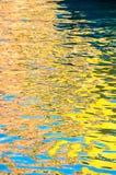 五颜六色的威尼斯大厦和天空的抽象反射在运河 库存照片