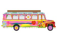 五颜六色的嬉皮公共汽车 免版税库存图片
