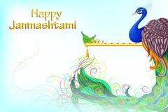 五颜六色的孔雀在Janmashtami背景中 免版税库存照片