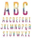 五颜六色的字母表由抽象几何形状做成 免版税图库摄影