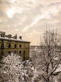 五颜六色的季节和wintage房子 免版税库存图片
