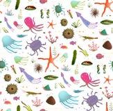 五颜六色的孩子动画片海洋生活无缝的样式 库存例证