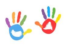 五颜六色的孩子handprint传染媒介例证 图库摄影