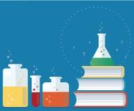 五颜六色的实验室用清楚的液体填装了并且预定传染媒介例证,教育概念 向量例证