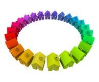 五颜六色的家议院圆环圈子邻里社区活动 库存照片