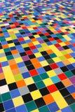 五颜六色的对角马赛克透视图瓦片 免版税库存照片