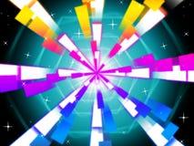 五颜六色的射线背景显示六角形和夜空 免版税库存照片