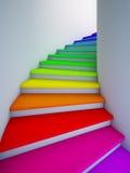 五颜六色的将来的螺旋台阶 免版税库存照片