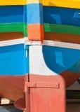 五颜六色的小船在马耳他 图库摄影