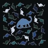 五颜六色的小组恐龙 免版税库存照片