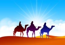 五颜六色的小组有骆驼有蓬卡车的阿拉伯人 图库摄影