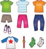 五颜六色的少年衣裳例证 库存照片