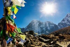 五颜六色的尼泊尔旗子 免版税库存图片