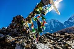 五颜六色的尼泊尔旗子 免版税库存照片