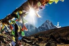 五颜六色的尼泊尔旗子 图库摄影