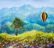 五颜六色的山气球油画 免版税图库摄影