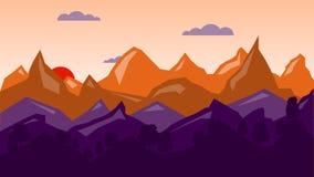 五颜六色的山背景,日出时间 库存照片