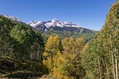 五颜六色的山风景在秋天 免版税库存照片