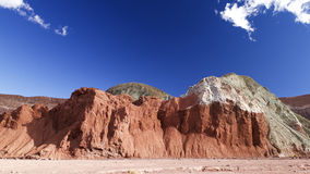 五颜六色的岩石在智利,彩虹谷 免版税库存照片
