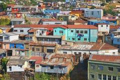 五颜六色的市的看法瓦尔帕莱索, Chil 免版税图库摄影