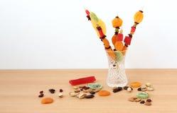 五颜六色的干果子为Tu Bishvat的犹太假日 免版税库存图片