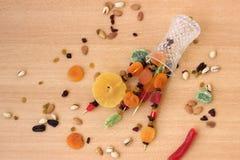 五颜六色的干果子为Tu Bishvat的犹太假日 库存图片