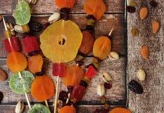 五颜六色的干果子为Tu Bishvat的犹太假日 免版税库存照片