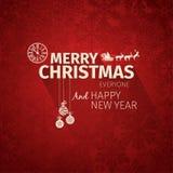 五颜六色的平的时髦圣诞卡和新年问候导航例证 免版税库存图片