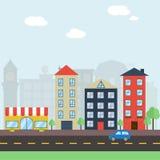 五颜六色的平的都市风景 免版税库存照片