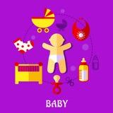 五颜六色的平的婴孩设计 图库摄影