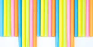 五颜六色的平直的秸杆集合 免版税库存照片