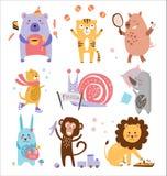 五颜六色的幼稚动物传染媒介集合 免版税库存图片