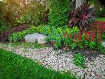 五颜六色的开花植物、灌木和灌木在惊堂木和石庭院有绿草草坪的 图库摄影