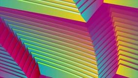 五颜六色的弯曲的条纹折射抽象录影动画 向量例证