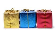 五颜六色的当前配件箱查出在白色 图库摄影