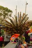 五颜六色的当地做的竹长笛 库存照片
