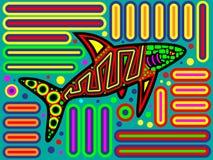 五颜六色的当地巴拿马鲨鱼翻车鱼设计 库存例证