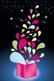 五颜六色的形状来自开放礼物盒-储蓄例证 库存图片