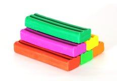 五颜六色的彩色塑泥金字塔 图库摄影
