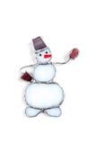 五颜六色的彩色玻璃手工制造雪人 库存照片