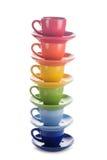 五颜六色的彩虹杯子 库存图片