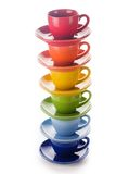 五颜六色的彩虹杯子 免版税库存图片