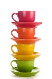 五颜六色的彩虹杯子 库存照片