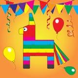 五颜六色的彩饰陶罐 Mexcian传统生日玩具 皇族释放例证