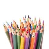 五颜六色的微笑的铅笔 库存照片