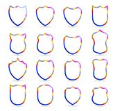 五颜六色的徽章修补传染媒介概述模板 体育俱乐部、军用或纹章学盾和徽章空白的象传染媒介 向量例证