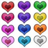 五颜六色的心脏华伦泰爱网象按钮 库存图片