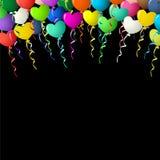 五颜六色的心脏在黑背景的丝带迅速增加 库存图片
