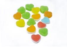五颜六色的心脏形状果冻糖果 免版税库存图片