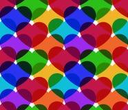 五颜六色的心脏无缝的传染媒介样式 库存照片